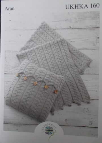 Aran Blanket and Cushion Cover Knitting Pattern - UKHKA 160